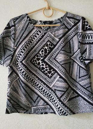 Кроп топ f&f, блузка, чорний, білий, геометричний принт, футболка, блуза