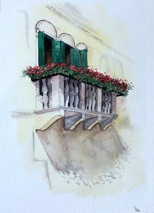 Венецианский балкон акварелью