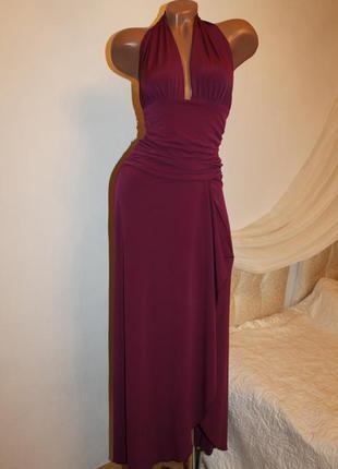 Asos марсала шикарное платье в пол размер s