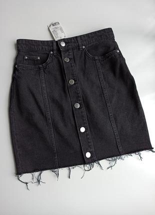 Красивая стильная черная джинсовая прямая юбка мини по фигуре 100% хлопок