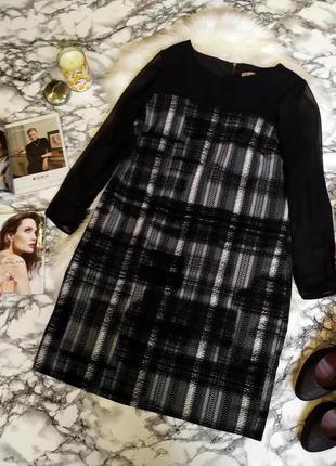 Стильное платье черный микс с шифоновыми рукавами размер 44-46