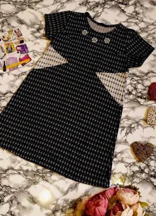 Красивое твидовое платье zara с камнями размер zara 12-14(44-46)