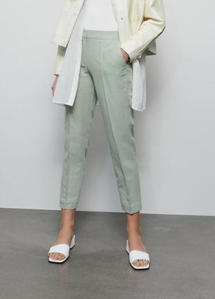 Шикарные лёгкие стильные брюки штаны фисташкового цвета лён и хлопок