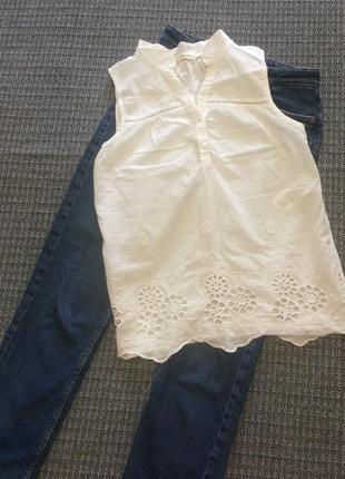 Блуза белая прошва классная лёгенькая коттон