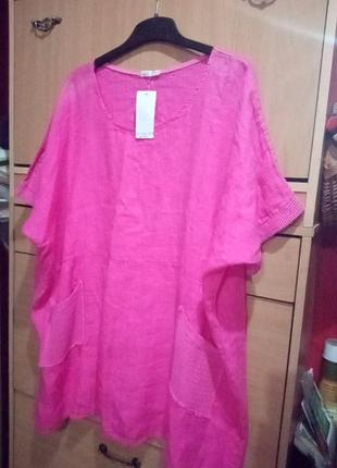 Итальянская блуза -туника летучая мышь из льна