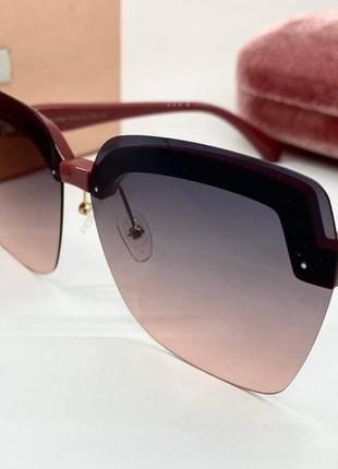 Miu miu очки женские солнцезащитные розовые поляризованые бабочки
