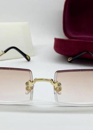 Gucci очки женские солнцезащитные безободковые бежевые прямоугольники с градиентом