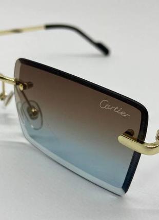 Cartier очки женские солнцезащитные безоободковые прямоугольники с градиентом