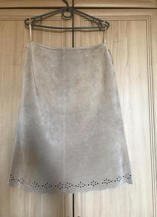 Новая шикарная кремовая юбка карандаш 100% кожа select 14-16pp  selected femme