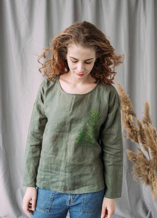 Зеленая льняная блуза рубашка сорочка с длинным рукавом с ручной росписью