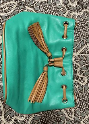 Зелёная сумка из эко кожи