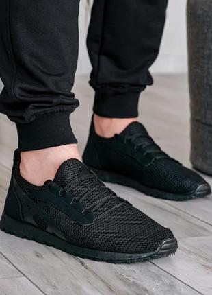 Літні чоловічі кросівки сітка чорні (пр-3302ч)