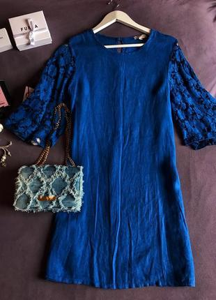 Льняное платье с кружевом bellambra