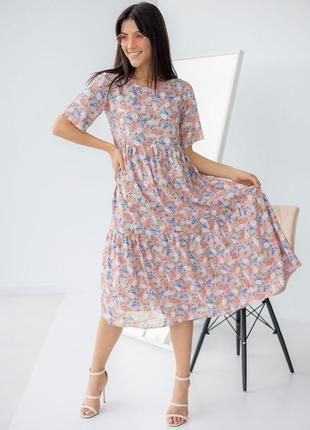 Яркое платье-миди свободного фасона 3260