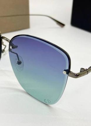 Dior очки женские солнцезащитные полуободковые бабочки с бирюзовым градиентом
