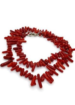❤️🌊яркие бусы натуральный красный коралл веточка