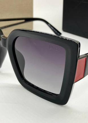 Dior очки женские солнцезащитные поляризованые черные квадраты с градиентом