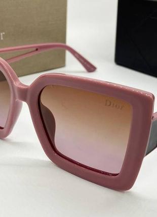 Dior очки женские солнцезащитные поляризованые розовые квадраты с градиентом