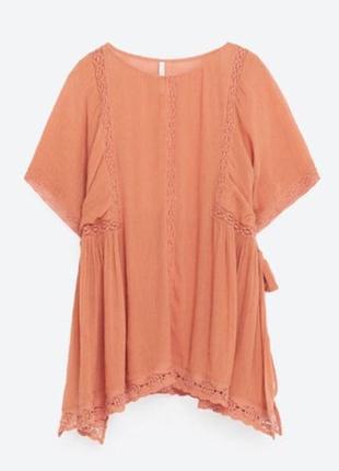Блуза, топ с прошвой zara / s / цвет розовая карамель