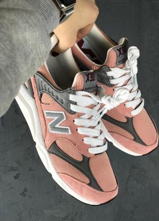 Кроссовки new balance nb x-90 pink grey white