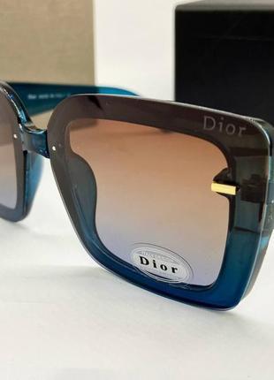 Dior женские солнцезащитные очки поляризованые бирюзовые квадраты с градиентом