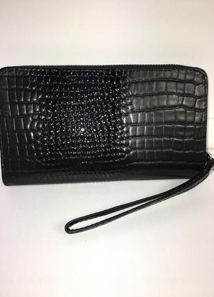 Роскошный черный кошелек клатч из натуральной кожи