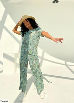 Женский летний лёгкий костюм штаны и футболка