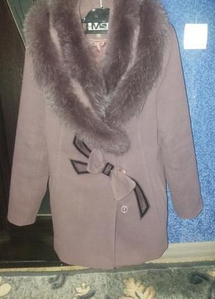 Пальто демисезонное, очень теплое saga furs