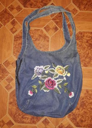 Джинсовая сумка вышиванка