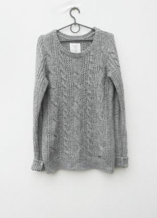 28% шерстяной вязаный с косами удлиненный свитер с длинным рукавом