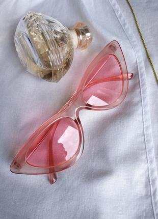 Очки розовые лисички узкие солнцезащитные