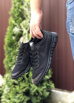 Мужские летние, легкие кроссовки nike free run 3.0 сетка, чёрные
