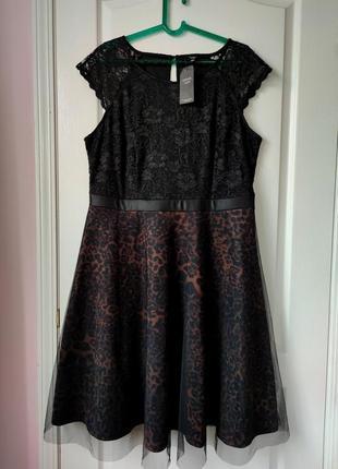 Вечернее платье с кружевом леопардовый принт