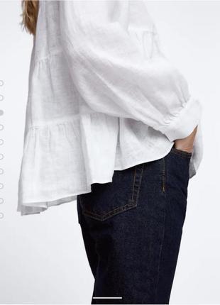 Белоснежная льняная  рубашка оверсайз