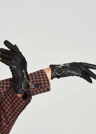 Перчатки из искусственной кожи с молнией zara