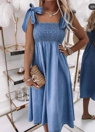 Голубой сарафан , сарафан из джинса , джинсовое платье , платье из хлопка
