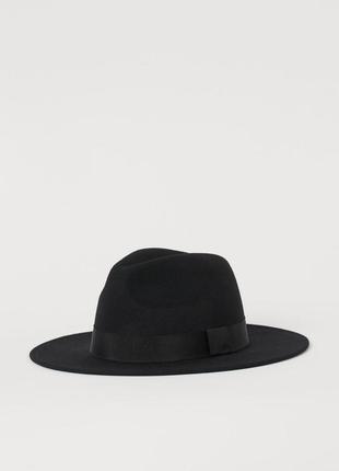 Черная  шляпа h&m из шерстяного фетра с широкими полями