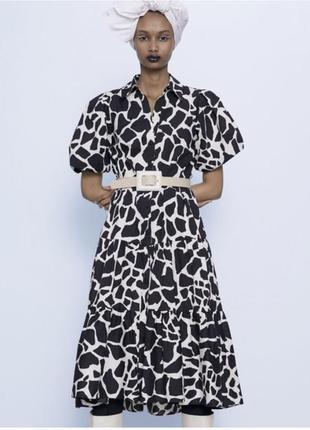 Просто шикарное хлопковые объемное платье с поясом рукава воланы