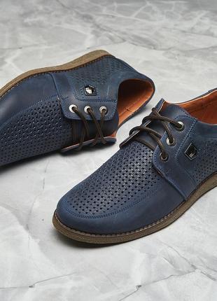 Кожаные стильные мужские туфли model -m63,перфорация