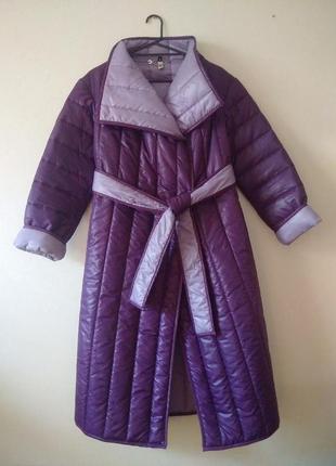 Пальто-халат пуховик на запах с поясом andre tan лаванда сирень кокон