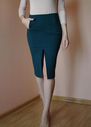 Шикарная юбка карандаш (миди) h&m с карманами