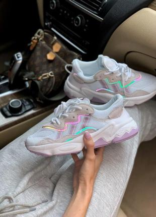 ❤ женские бежевые текстильные кроссовки  adidas ozweego pink ❤