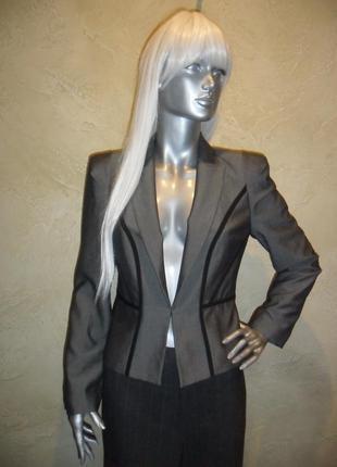 Шикарный с отливом серый офисный школьный пиджак жакет m&s s-m 10