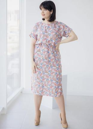 Штапельное платье на кулиске 3 цвета, р. xl, 2xl, 3xl