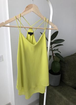 Дефект. майка салатовая, блуза на тонких бретелях зеленая топ летний лимонный