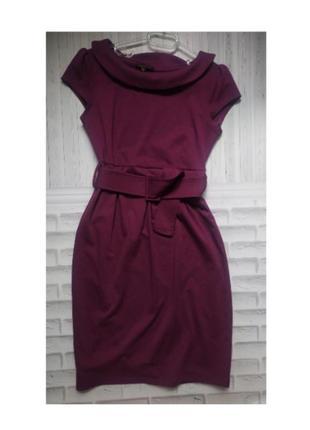 Платье футляр короткий рукав теплое однотонное закрытое классика