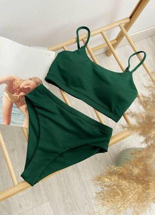 02 темный зеленый раздельный купальник christel топ и завышенные плавки