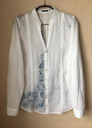 Хлопковая белая рубашка сорочка marc o polo перламутровые пуговицы