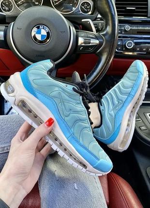 Нереальные яркие женские кроссовки nike air max 97 plus голубые лазурные