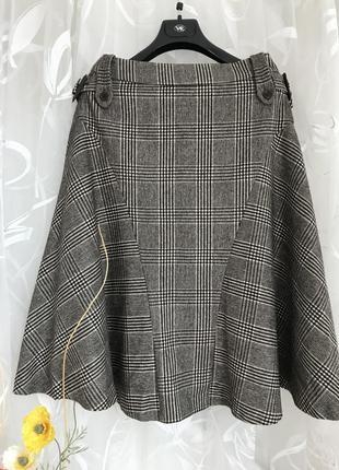 Стильная шерстяная юбка в клетку max mara, италия, m, 44, eur 38.